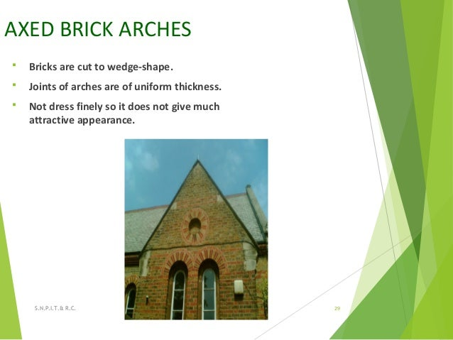 AXED BRICK ARCHES  Bricks are cut to wedge-shape.  Joints of arches are of uniform thickness.  Not dress finely so it d...