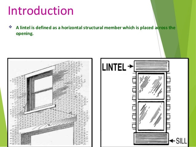 Introduction  A lintel is defined as a horizontal structural member which is placed across the opening. 3S.N.P.I.T.& R.C.