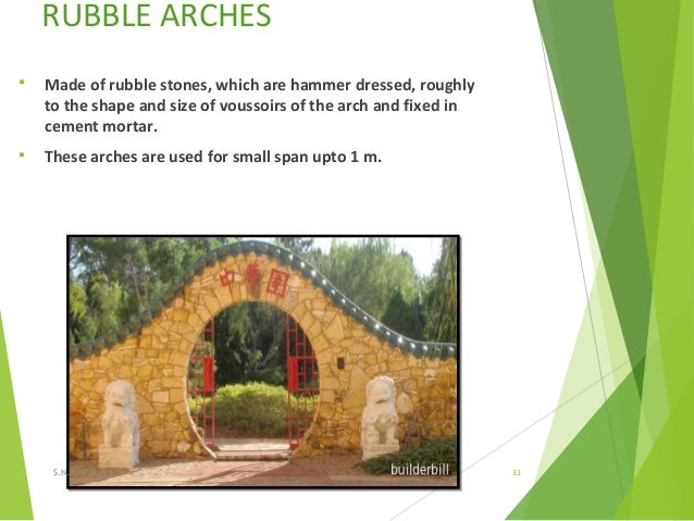 RUBBLE ARCHES  Made of rubble stones, which are hammer dressed, roughly to the shape and size of voussoirs of the arch an...