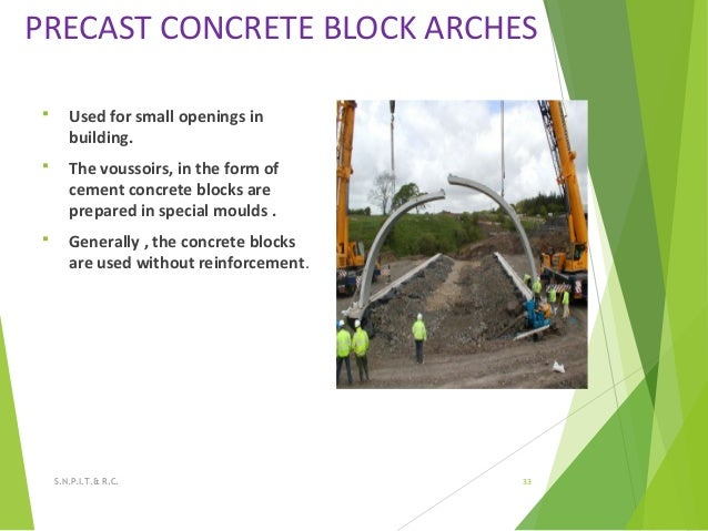 PRECAST CONCRETE BLOCK ARCHES  Used for small openings in building.  The voussoirs, in the form of cement concrete block...