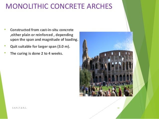 MONOLITHIC CONCRETE ARCHES  Constructed from cast-in-situ concrete ,either plain or reinforced , depending upon the span ...