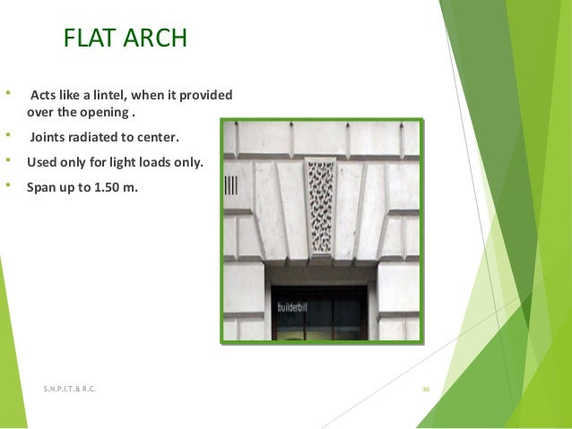 FLAT ARCH  Acts like a lintel, when it provided over the opening .  Joints radiated to center.  Used only for light loa...