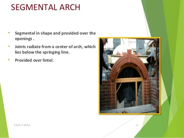 SEGMENTAL ARCH  Segmental in shape and provided over the openings .  Joints radiate from a center of arch, which lies be...