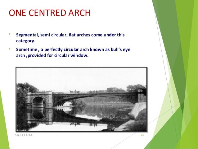 ONE CENTRED ARCH  Segmental, semi circular, flat arches come under this category.  Sometime , a perfectly circular arch ...