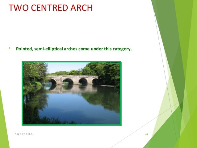 TWO CENTRED ARCH  Pointed, semi-elliptical arches come under this category. 44S.N.P.I.T.& R.C.