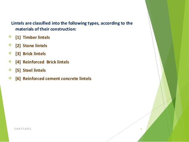 Lintels are classified into the following types, according to the materials of their construction:  [1] Timber lintels  ...