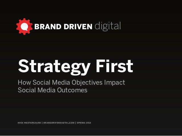 BRAND DRIVEN digital nick westergaard | branddrivendigital.com | spring 2013 Strategy First How Social Media Objectives Im...
