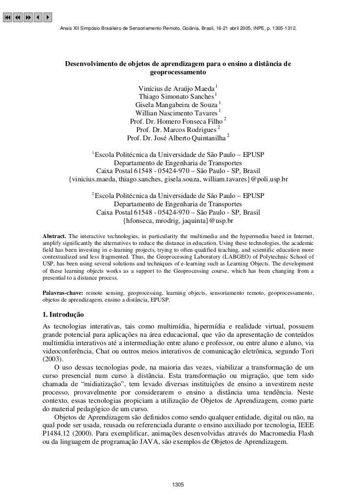 9 7 834            Anais XII Simpósio Brasileiro de Sensoriamento Remoto, Goiânia, Brasil, 16-21 abril 2005, INPE, p. 1305...