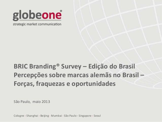 Cologne Shanghai Beijing Mumbai São Paulo Singapore Seoul BRIC Branding® Survey – Edição do Brasil Percepções sobre marcas...