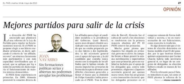Tribuna de Joan Navarro en El País
