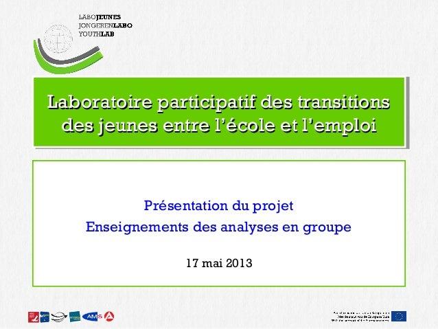 Laboratoire participatif des transitionsLaboratoire participatif des transitionsdes jeunes entre l'école et l'emploides je...