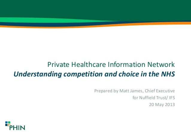 Private Healthcare Information NetworkUnderstanding competition and choice in the NHSPrepared by Matt James, Chief Executi...