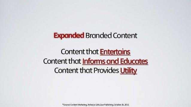 ExpandedBrandedContentContentthatEntertainsContentthatInformsandEducatesContentthatProvidesUtility*Source:ContentMarketing...