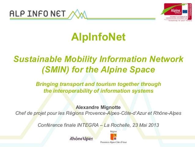 Alexandre MignotteChef de projet pour les Régions Provence-Alpes-Côte-d'Azur et Rhône-AlpesConférence finale INTEGRA – La ...