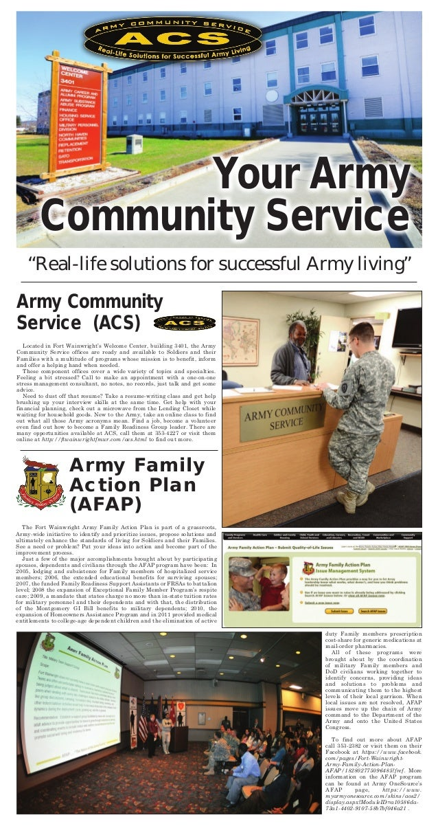 """""""Real-life solutions for successful Army living""""Army CommunityService (ACS)Located in Fort Wainwright's Welcome Center, bu..."""