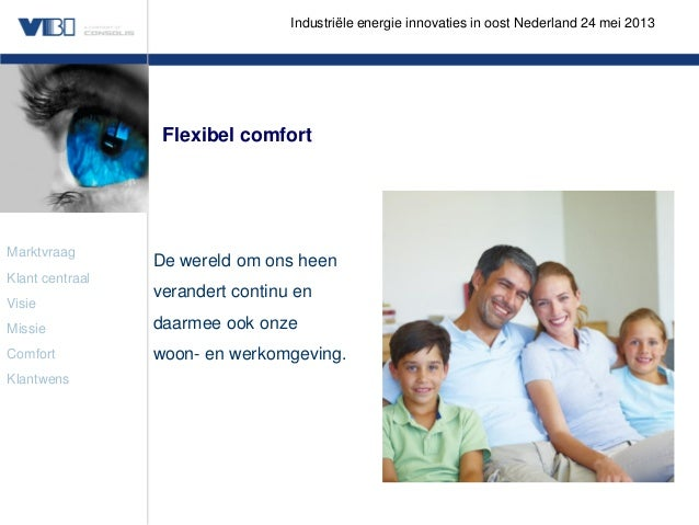 Industriële energie innovaties in oost Nederland 24 mei 2013  Flexibel comfort  Marktvraag Klant centraal Visie  De wereld...