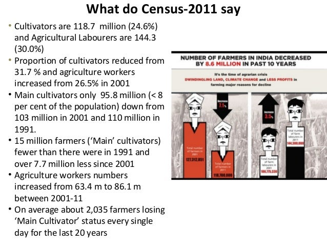 What do Census-2011 say• Cultivators are 118.7 million (24.6%)and Agricultural Labourers are 144.3(30.0%)• Proportion of c...