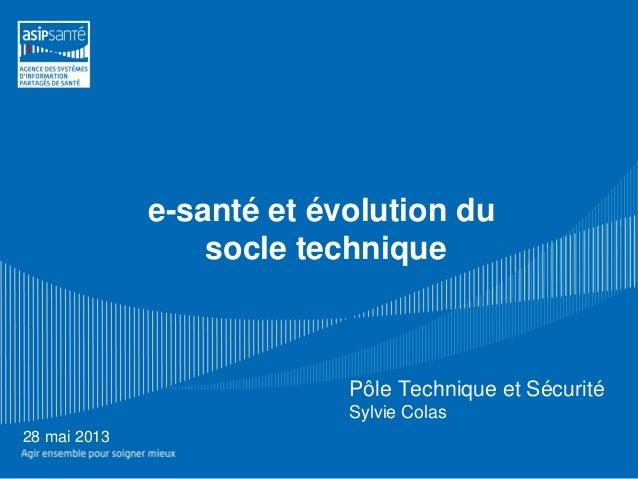 e-santé et évolution dusocle technique28 mai 2013Pôle Technique et SécuritéSylvie Colas