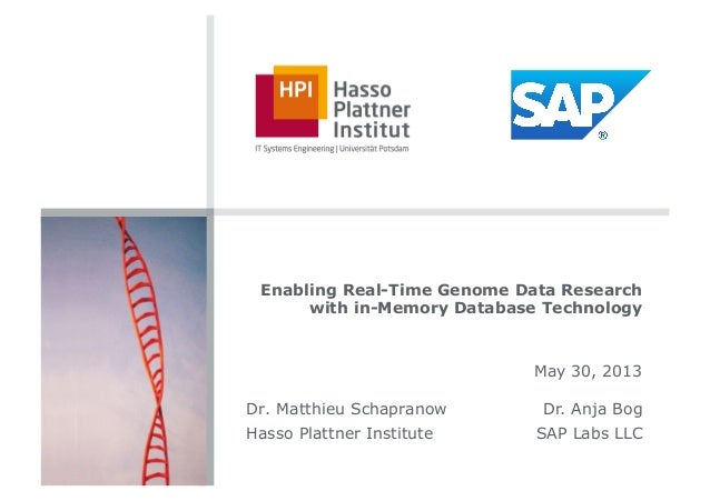 Enabling Real-Time Genome Data Researchwith in-Memory Database TechnologyMay 30, 2013Dr. Matthieu SchapranowHasso Plattner...