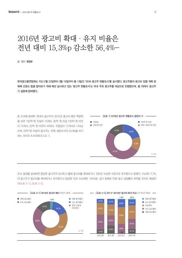 올해 매체별 예상 집행 비율을 보면 온라인/모바일(27.2%), 인쇄(25.0%), 지상파(17.6%), CATV(12.7%), 기타(옥외, IPTV 12.4%), 종편 (5.1%) 순으로 나타났으며[도표 3], 광고주...