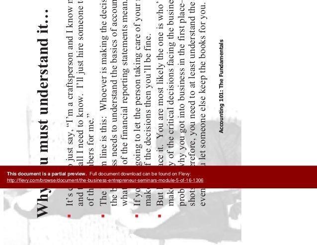 The Business Entrepreneur Seminars (Module 5 of 16) Slide 3