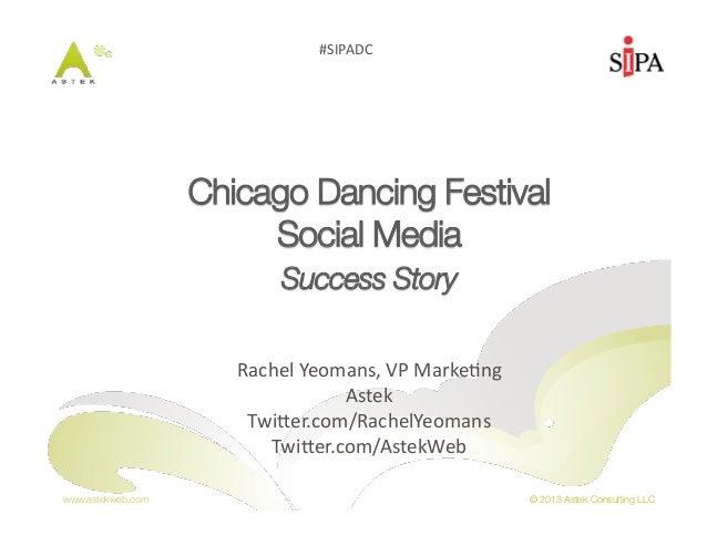 "www.astekweb.com © 2013 Astek Consulting LLC#SIPADC Chicago Dancing Festival ""Social Media ""Success Story""Rachel Yeoma..."