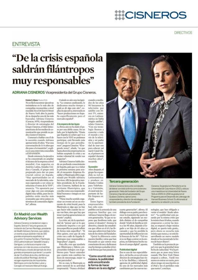 De la crisis española saldrán filántropos muy responsables. Diario Expansión.