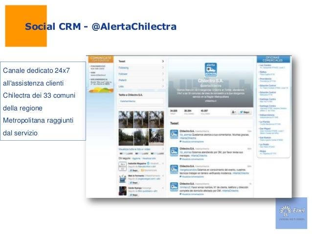 Social CRM - @AlertaChilectraCanale dedicato 24x7allassistenza clientiChilectra dei 33 comunidella regioneMetropolitana ra...