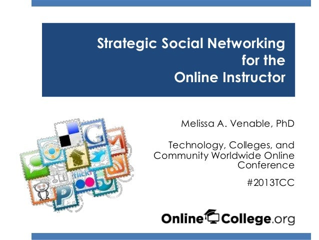 Strategic Social Networking                      for the            Online Instructor             Melissa A. Venable, PhD ...