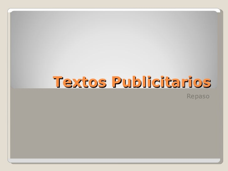 Textos Publicitarios Repaso