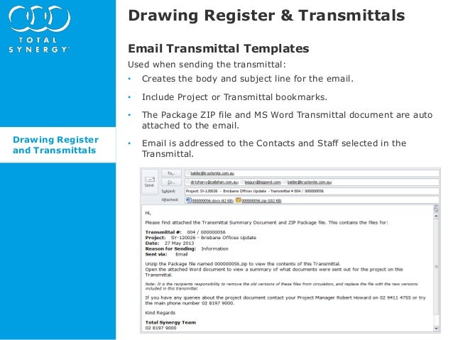 Whats new in Synergy 485 Drawing Register and Transmittals – Document Transmittal Template Free