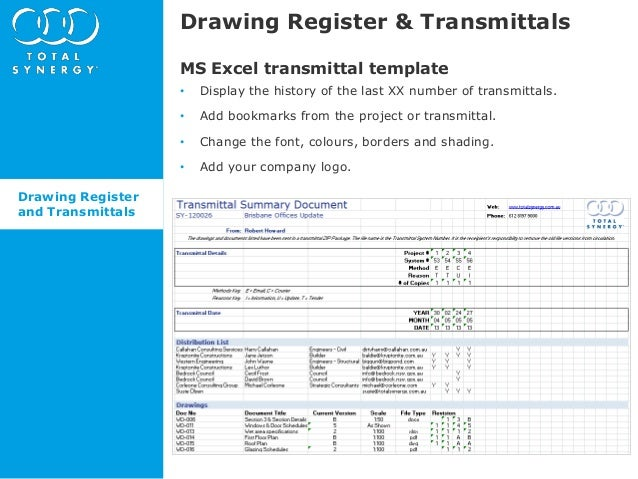 Whats new in Synergy 485 Drawing Register and Transmittals – Transmittal Document Template