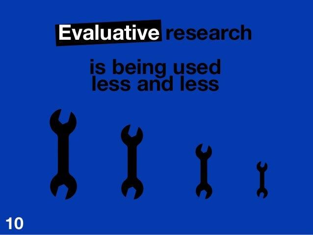 Evaluative research  is being used less and less 10