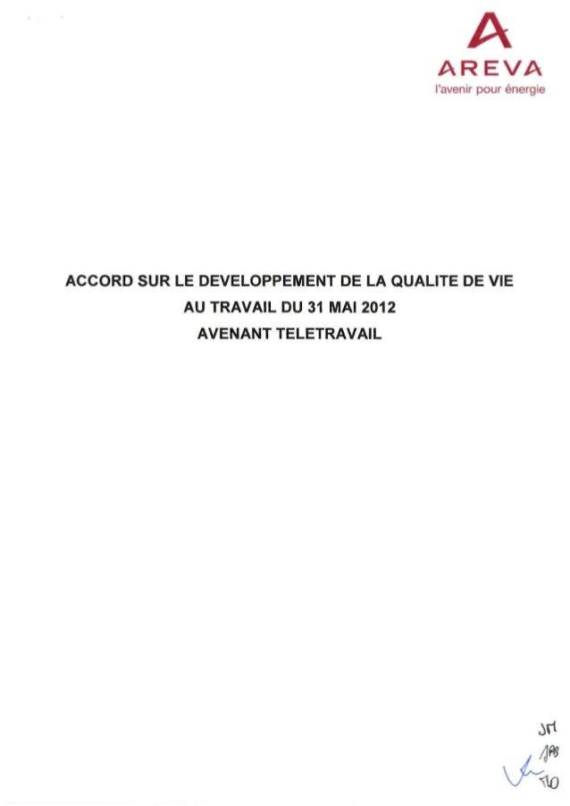 Accord télétravail chez Areva - Avenant à l'accord Qualité de Vie au Travail
