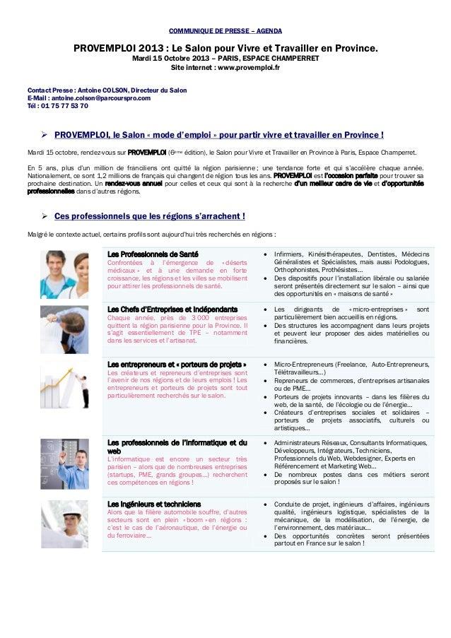 COMMUNIQUE DE PRESSE – AGENDA PROVEMPLOI 2013 : Le Salon pour Vivre et Travailler en Province. Mardi 15 Octobre 2013 – PAR...