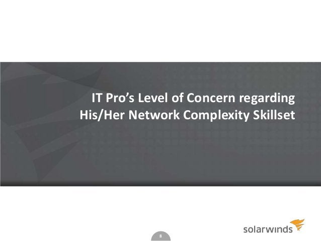 8 IT Pro's Level of Concern regarding His/Her Network Complexity Skillset