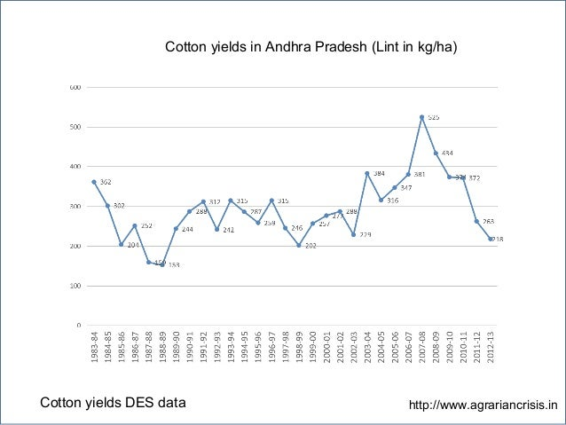 Cotton yields in Andhra Pradesh (Lint in kg/ha) Cotton yields DES data http://www.agrariancrisis.in