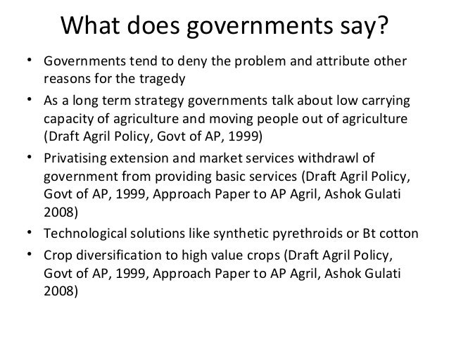 What does governments say? • Governments tend to deny the problem and attribute other reasons for the tragedy • As a long ...
