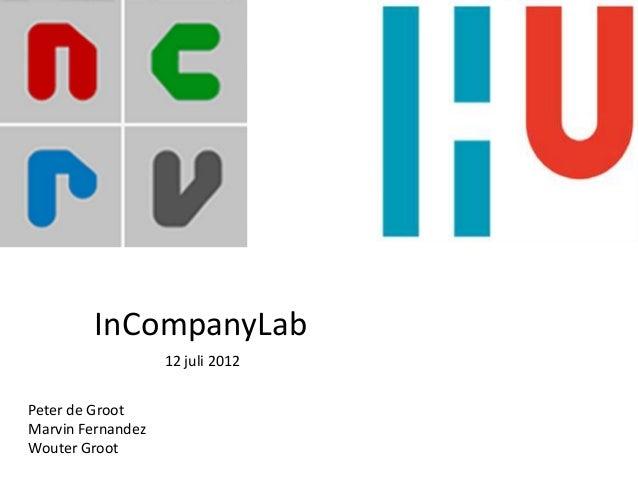 12 juli 2012 InCompanyLab Peter de Groot Marvin Fernandez Wouter Groot