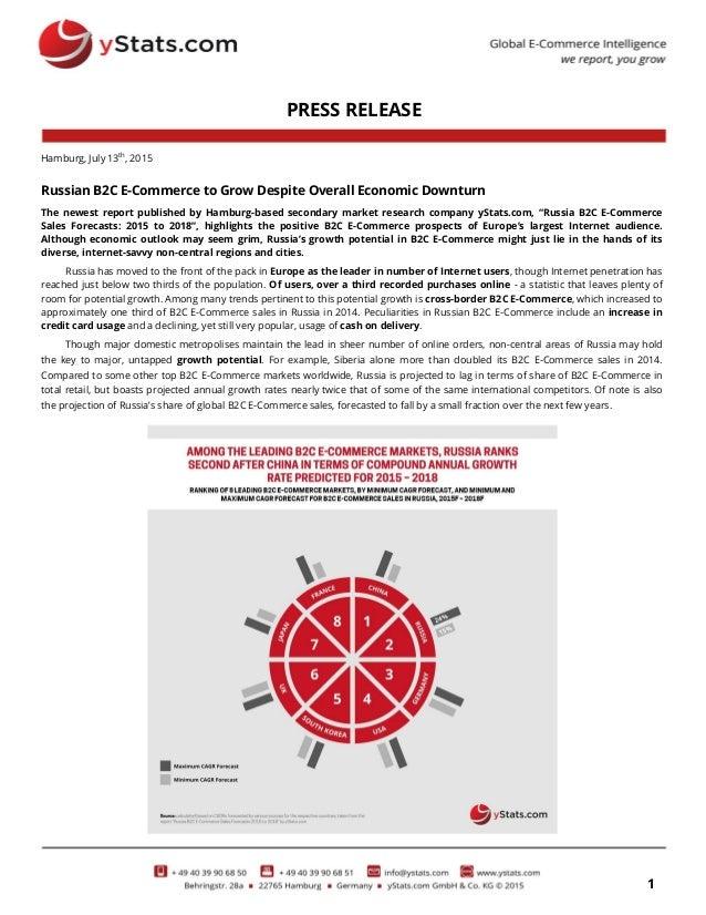 1 PRESS RELEASE Hamburg, July 13th , 2015 Russian B2C E-Commerce to Grow Despite Overall Economic Downturn The newest repo...