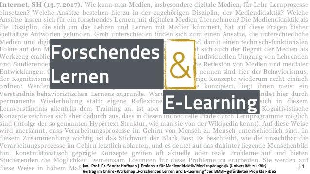 Internet, SH (13.7.2017). Wie kann man Medien, insbesondere digitale Medien, für Lehr-Lernprozesse einsetzen? Welche Ansät...