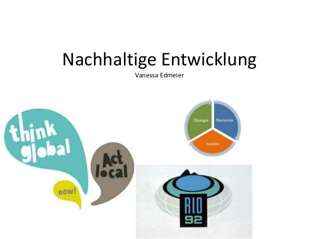 Nachhaltige Entwicklung Vanessa Edmeier