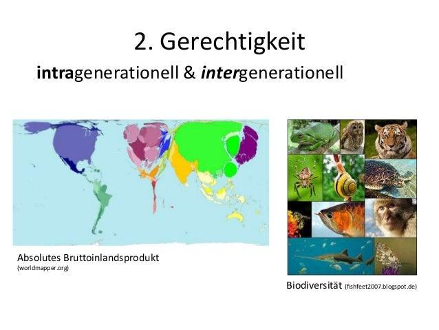 2. Gerechtigkeit intragenerationell & intergenerationell Absolutes Bruttoinlandsprodukt (worldmapper.org) Biodiversität (f...