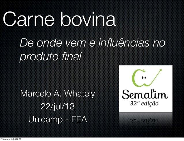 Carne bovina De onde vem e influências no produto final Marcelo A. Whately 22/jul/13 Unicamp - FEA Tuesday, July 23, 13