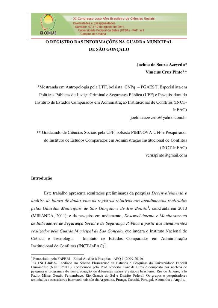 O REGISTRO DAS INFORMAÇÕES NA GUARDA MUNICIPAL                                     DE SÃO GONÇALO                         ...