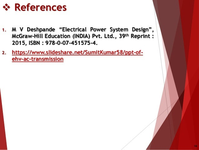 Power System Planning And Design Design Of Ehv Transmission Lines