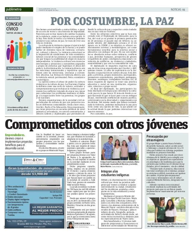 www.publimetro.com.mx Jueves 01 de agosto de 2013 NOTICIAS 04 En comunidad CONSEJO CÍVICO TWITTER: @CCINLAC Exclusivo On-l...