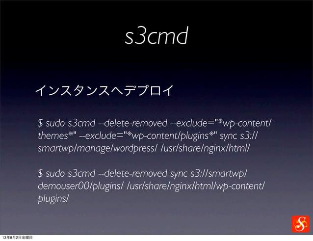 s3cmd インスタンスへデプロイ $ sudo s3cmd --delete-removed sync s3://smartwp/ demouser00/plugins/ /usr/share/nginx/html/wp-content/ p...