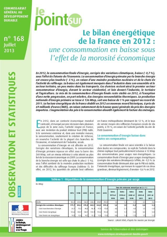 OBSERVATIONETSTATISTIQUES Service de l'observation et des statistiques COMMISSARIAT GÉNÉRAL AU DÉVELOPPEMENT DURABLE n° 16...