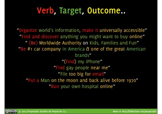 """© 2013 Proyectalis Gestión de Proyectos S.L. More at http://Slideshare.net/proyectalis Verb, Target, Outcome.. """"Organize w..."""